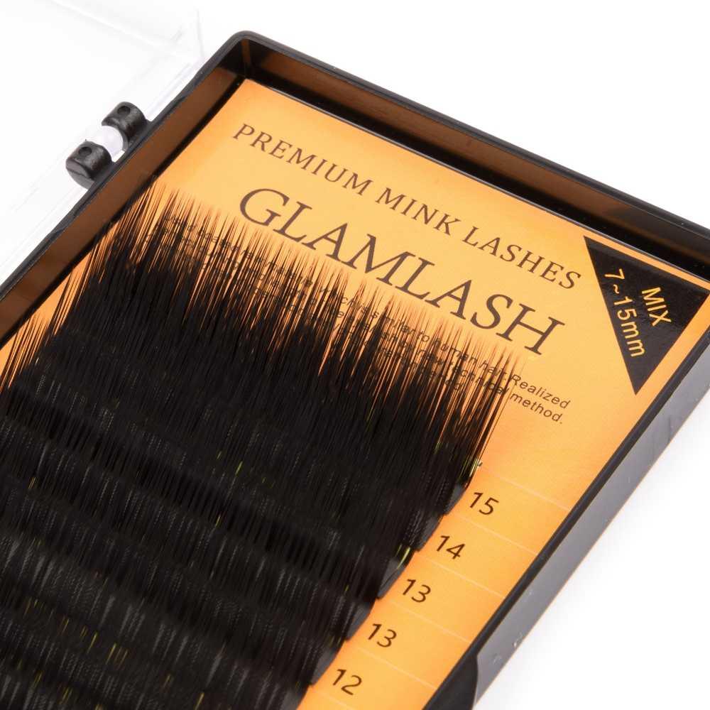 GLAMLASH L Locken 7 ~ 15mm MIX 16 reihen/fall Nerz Wimpern Verlängerung, L Locken Individuelle Wimpern, L Wimpern, L Falsche Wimpern
