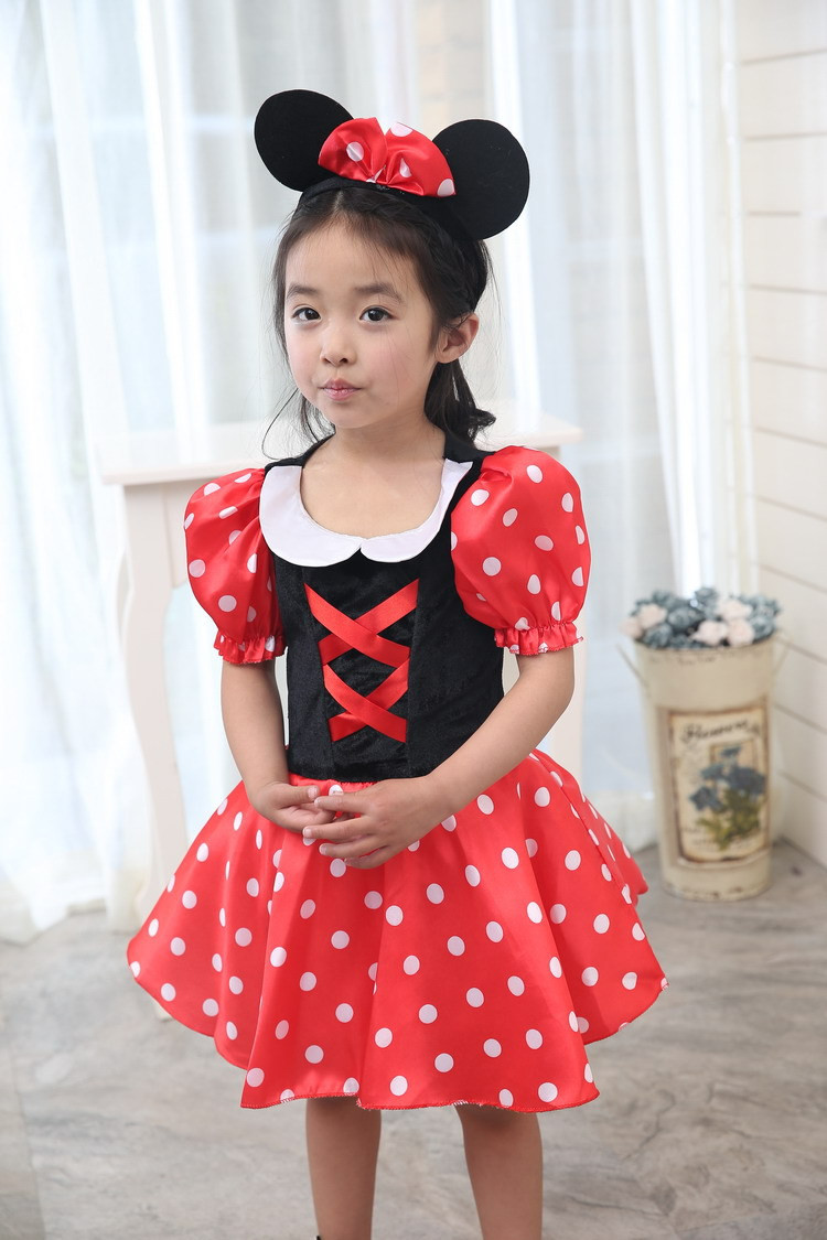 Girl Minnie Mouse Cosplay Costume Red White Spot Fantasy Dress