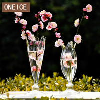Modern Fashion Transparent Glass Vase Flower Containers Free Shipping Wedding Decoration