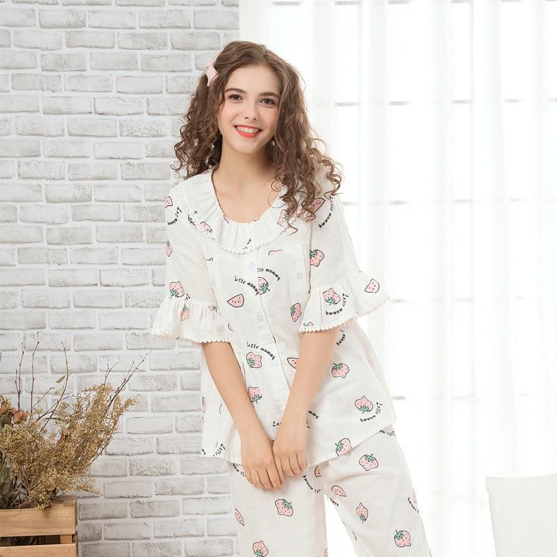 Fashion Clothing Sets for Pregnant Women Nightgown Strawberry Flamingo Print Maternity Pajama Cotton Ruffle Sleepwear Nursing