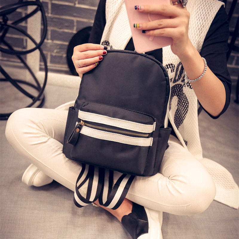 RU BR Hit Color Simple New Tide Shoulders Bag Zipper Ladies Oxford Treval Backpacks Korean Fashion