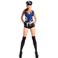 Halloween Policewoman Costumes Sexy Handcuffs Police Costume Blue Female Officer Role Play Cop Costume Uniform
