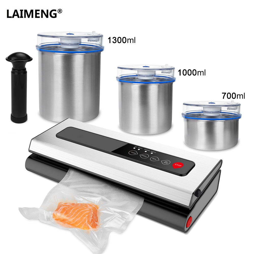 все цены на LAIMENG Vacuum Food Sealer With Food Grade Stainless Steel Container Vacuum Bags for Packing Food New Packer for Packaging S229 онлайн