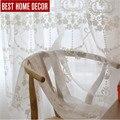 BHD línea a medida bordado escarpado tulle cortina para sala de estar dormitorio blanco voile cortinas de tela cortinas para la ventana