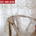BHD tailor-made line embroidered sheer tulle curtain for living room bedroom white voile curtains fabric drapes for window