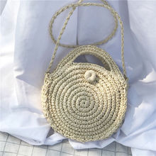 Bohemian Handmade Rattan Woven Round Handbag Straw Bag Knitted Messenger Bags For Women Straw Beach Bag