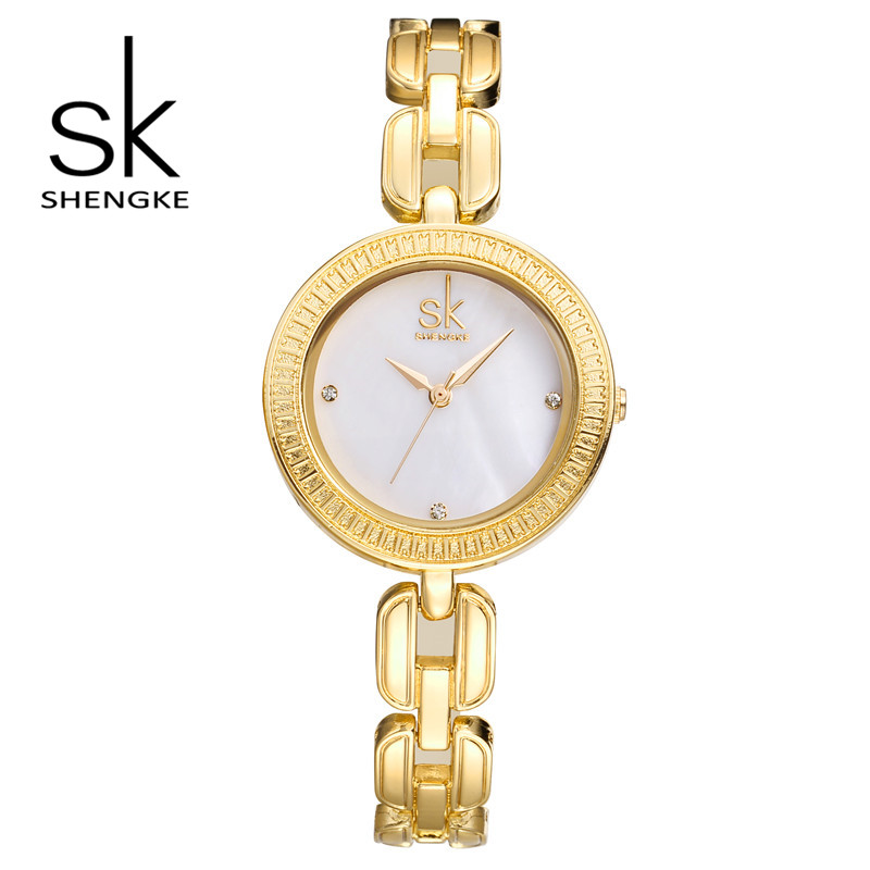 SK Brand Luxury Women Gold Watches Fashion Stainless Steel Chain Bracelet Watch Ladies Quartz Watches Relogio Feminino S0003 fashion brand luxury full stainless steel bracelet watches women ladies bangle dress watch woman clocks hour relogio feminino