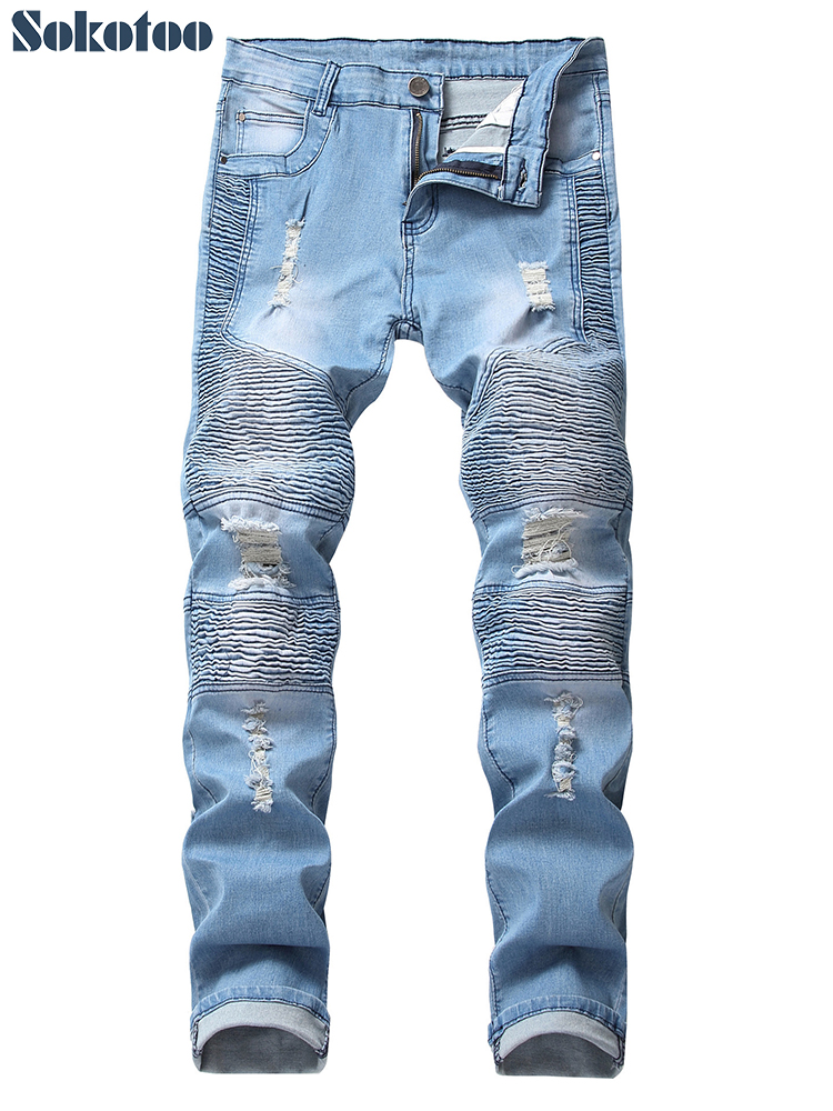 Sokotoo Men's Light Blue Ripped Biker Jeans For Motorcycle Slim Fit Plus Size Holes Patchwork Pleated Stretch Denim Pants