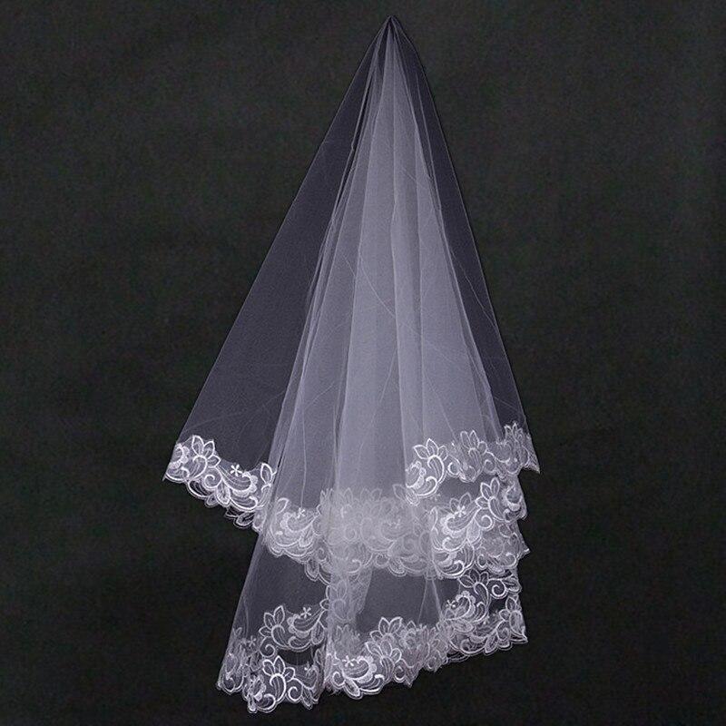 One Layer Lace Edge White Ivory Short Veil Bridal Veil