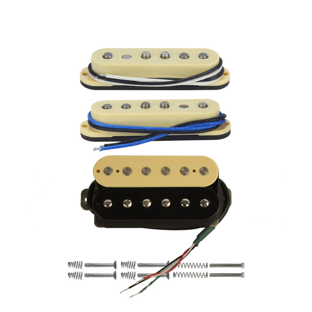 FLEOR 3pcs Vintage Alnico 5 Electric Guitar Single Coil Staggered Pole Humbucker Pickup SSH Set for