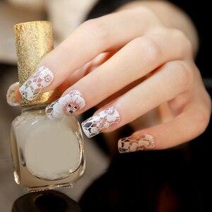 Image 3 - Autocollants décoratifs 3D pour ongles, 1 feuille, autocollants, dentelle blanche, sur les ongles, pissenlits, décorations de manucure, Z005