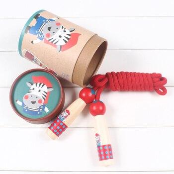 Niños saltando la cuerda al aire libre juguete niños de madera de dibujos animados Animal saltar cuerda ejercicio juguetes deportivos
