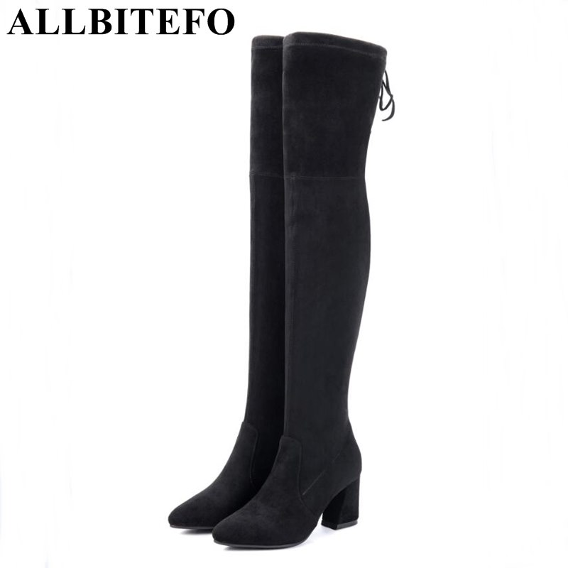 ALLBITEFO fashion flock+Stretch material thick heel winter boots thick heel high quality women boots grils boots bota de neve