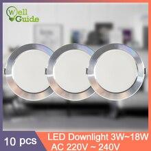 10Pcs LED Downlight lot size UltraThin Economic Round Recessed Lamp 220V Led Bulb Spot Lighting Indoor 3W 5W 9W 12W 15W 18W