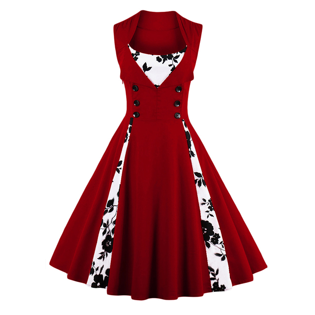 Women Plus Size 50s 60s Retro Vintage Dress Polka Dot Patchwork Sleeveless  Spring Summer Red Dress Rockabilly Swing Party Dress 0e6f438d9a26
