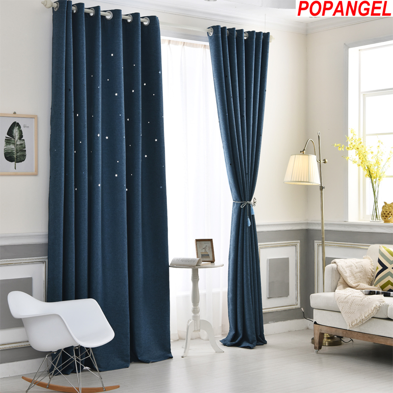 Popangel hot new polyester and cotton high quality dream star living room window modern blackout curtains in Curtains from Home Garden