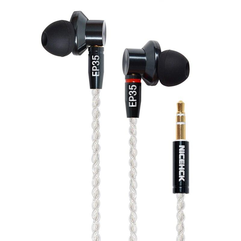 NICEHCK EP35 en el auricular del oído dinámica única unidad auricular de Metal HIFI Monitor auricular desmontable MMCX Cable contra E700M