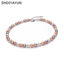 SHDIYAYUN High Quality Real Pearl Necklace Natural Freshwater Pearl Choker Necklace 925 Sterling Silver Jewelry For Women Gift real new natural freshwater pearl necklace with 925 sterling silver pendant necklace for women natural pearl jewelry