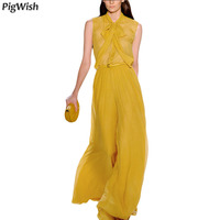 2018 NEW Women Two Piece Outfits Summer Yellow Chiffon Sleeveless Shirt Top + Broad Leg Pants Suit 2 Piece Set Clothes
