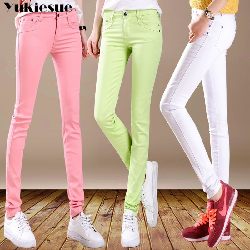 2018 New Warm Skinny Jeans For Woman Plus Size Candy Color Winter Jeans Warm Women Stretch Jeans Denim Pencil Pants Plus Size