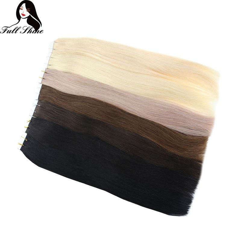 Brilho Completo Remy Fita Extensões de Cabelo em Cabelo Humano Puro Cabelo Colorido 50g 20pcs Adesiva Fita no Cabelo Perucas de Cabelo Humano