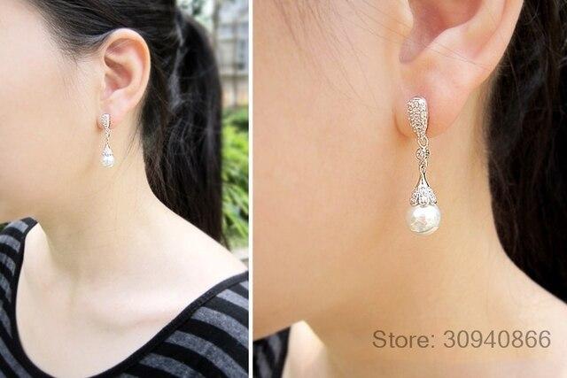 Classic 925 Sterling silver Clear Crystal Long Drop Earrings Teardrop Bridal Party Wedding Jewelry for Women Wholesale 1