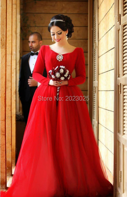 Charming Red India Long Sleeves Wedding Dresses Ball Gowns Custom ...