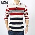 Hombres inglaterra estilo a rayas polo camisa 95% de algodón de manga larga nuevo 2016 primavera marca ropa de gran tamaño m-4xl