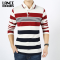 Men England Style Striped Polo Shirt 95% Cotton Long Sleeve New 2016 Spring Brand clothing M-4XL big size