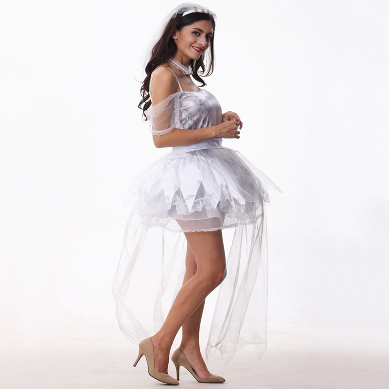 Free shipping women Ghost bride dress Cosplay Halloween Dress Euro and American zombie Devil Costume with gauze skirt for adult in Movie TV costumes from Novelty Special Use