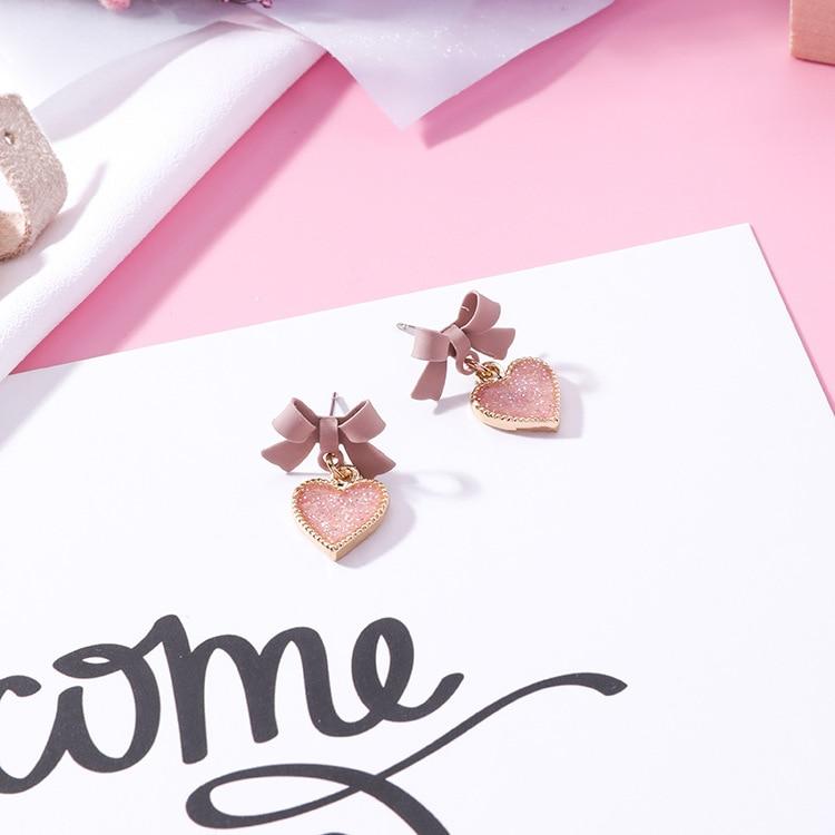 Женские серьги капельки с розовым бантом mengjiqiao новые корейские