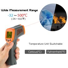 -32-380C Digital Infrared thermometer LCD temperature gauge meter Non-contact Pyrometer+Backlight Centigrade Fahrenhei infrared thermometer ht 868 50 350 centigrade hand held with lcd display economical type