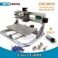 EU/RU Ship!CNC 3018 GRBL control DIY Laser machine working area 30x18x4.5cm,3 Axis Pcb Pvc Milling machine Carving Engraver,v2.5