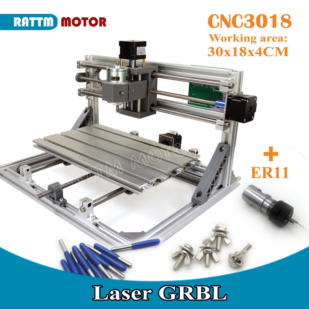 EU Ship! CNC 3018 GRBL control DIY Laser machine working area 30x18x4.5cm,3 Axis Pcb Pvc Milling machine Carving Engraver,v2.5 цена