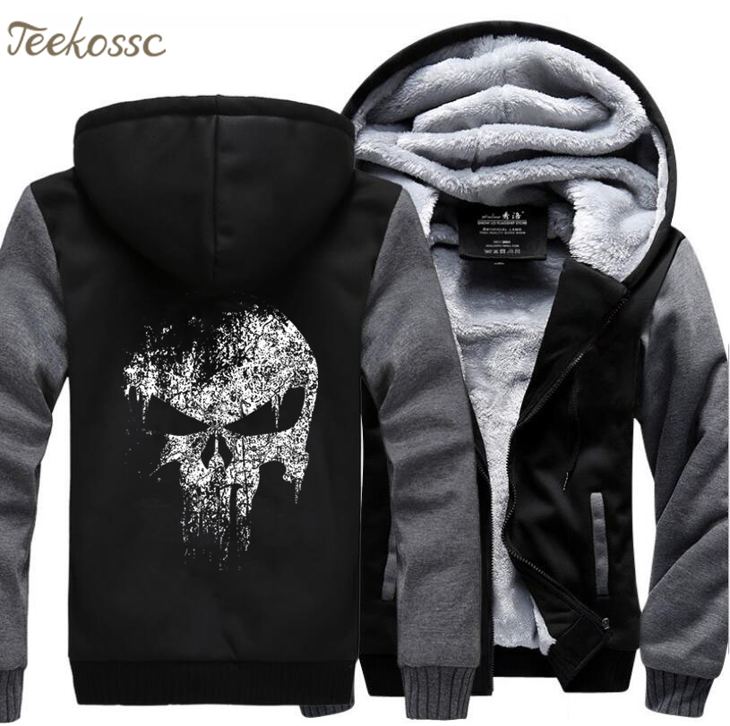 Super Hero  Skull Hip Hop Sweatshirts Hoodie Men 2018 Winter Fleece Print Plus Size Thick Hoodies Streetwear Jackets