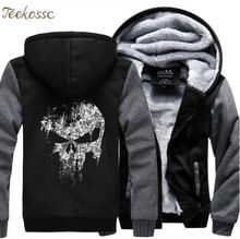 цена Super Hero  Skull Hip Hop Sweatshirts Hoodie Men 2018 Winter Fleece Print Plus Size Thick Hoodies Streetwear Jackets