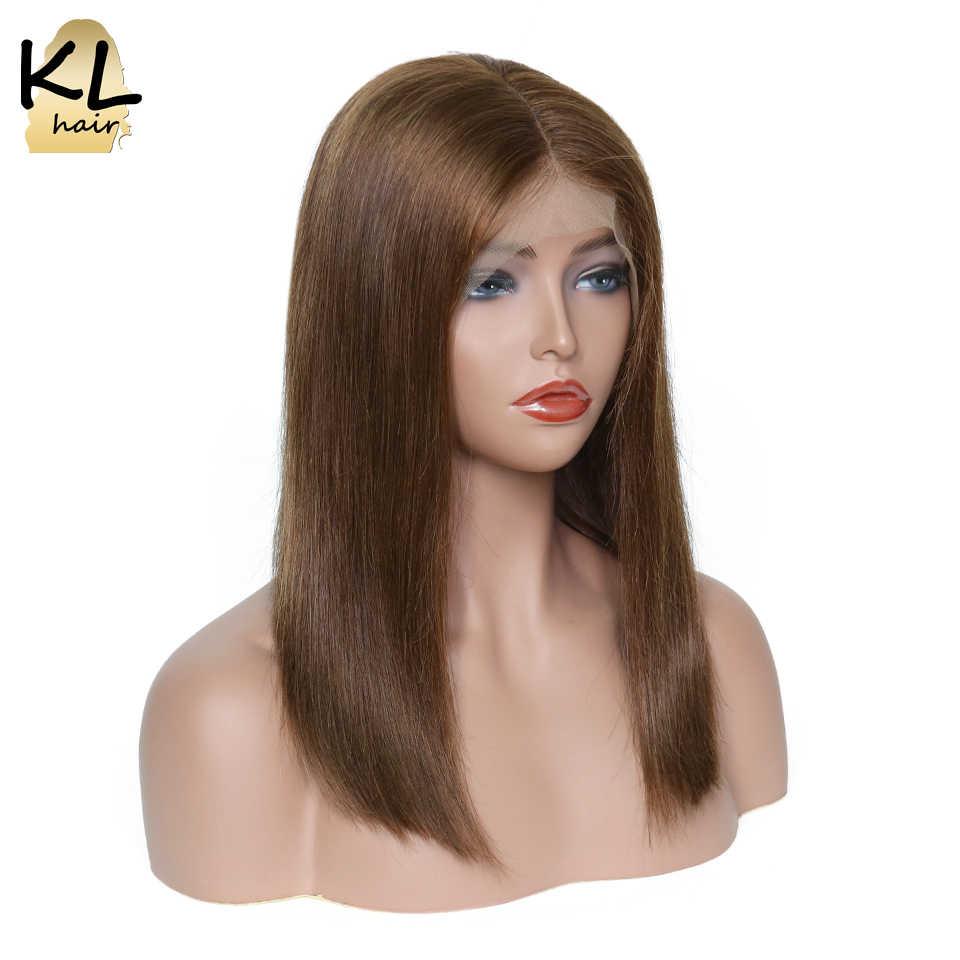 KL Hair 13x6 глубокая часть человеческих волос парики натуральные черные цвет #4 бразильские волосы remy бесклеевая причёска Боб с прямыми волосами Парики