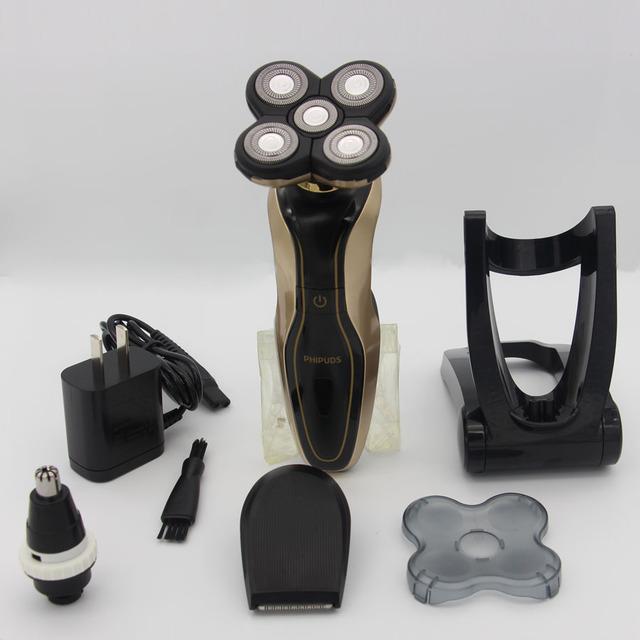 3D À Prova D' Água Recarregável Homens Barbeador Elétrico 5 cabeça para Philps Barbeador Barbear Máquina de Barbear Com Aparador de Pêlos Do Nariz FQ3580