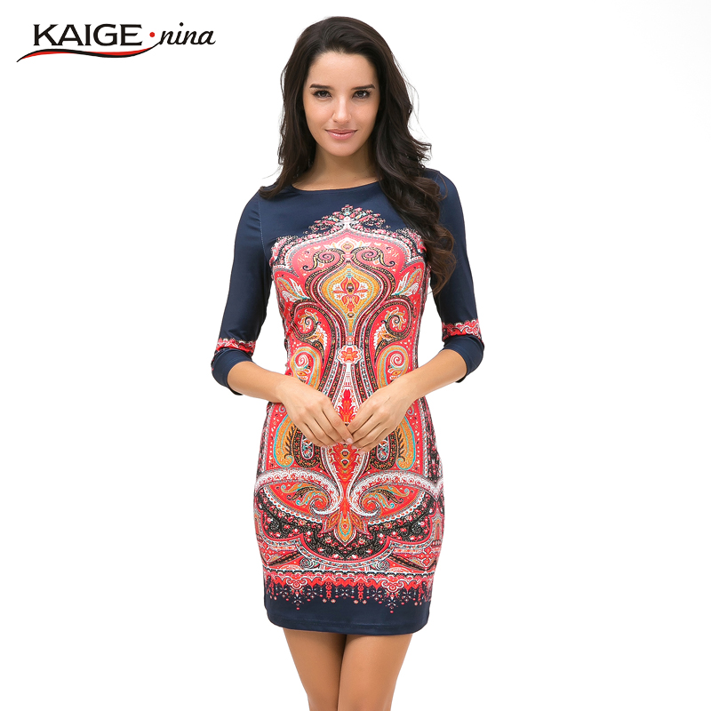 Kaige Nina New Women s vestidos Fashion Printing Style 7 Minutes Of Sleeve O Neck Straight