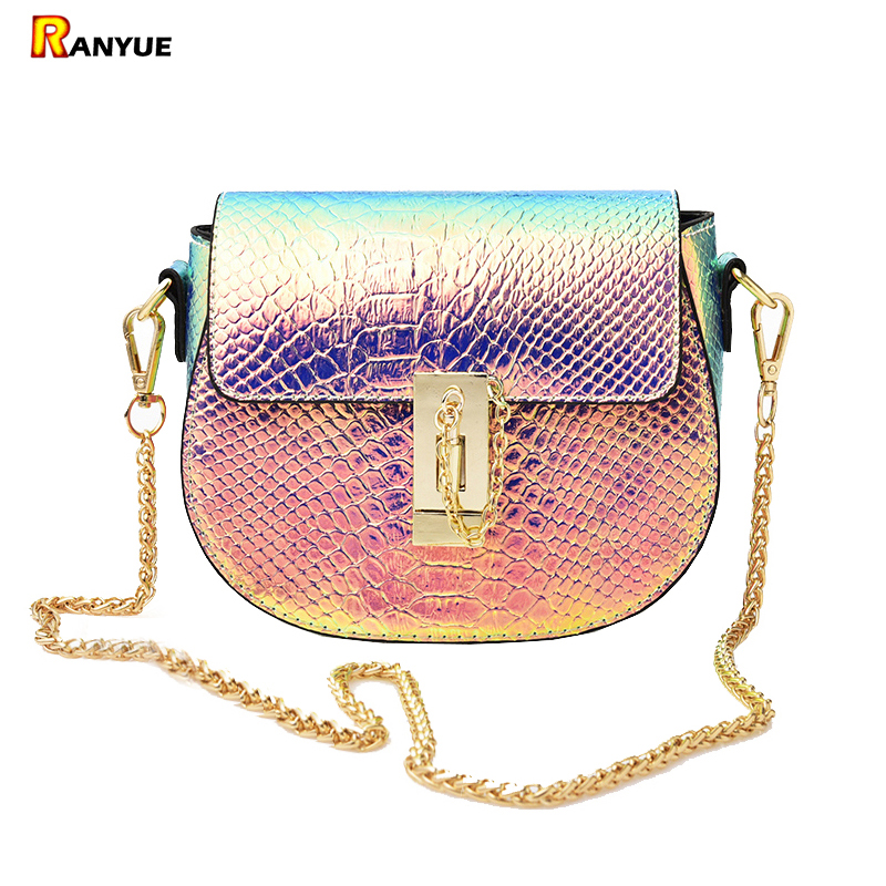 PU Laser Small Mini Flap Bag Women Messenger Bags Chain Serpentine Bolsa Luxury Handbags Women Bags Designer Crossbody Bags Sac 2017 fashion all match retro split leather women bag top grade small shoulder bags multilayer mini chain women messenger bags