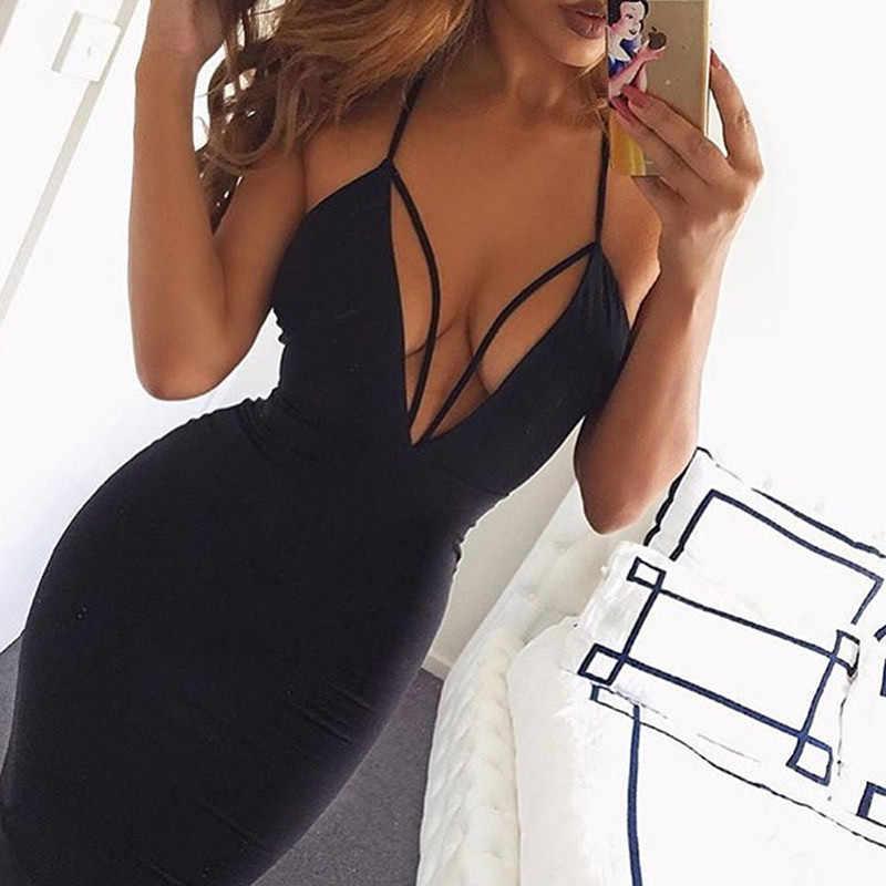 เซ็กซี่ผู้หญิงฤดูร้อนสปาเก็ตตี้สายคล้องคอ V-Neck ชุดปาร์ตี้ Clubwear Backless Lace-up ชุด Bodycon