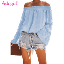 Adogirl Swiss Dot Off The Shoulder Tops Slash Neck Ruffles Long Flare Sleeve Loose Casual Blouse Women Fashion Clothing Outfits
