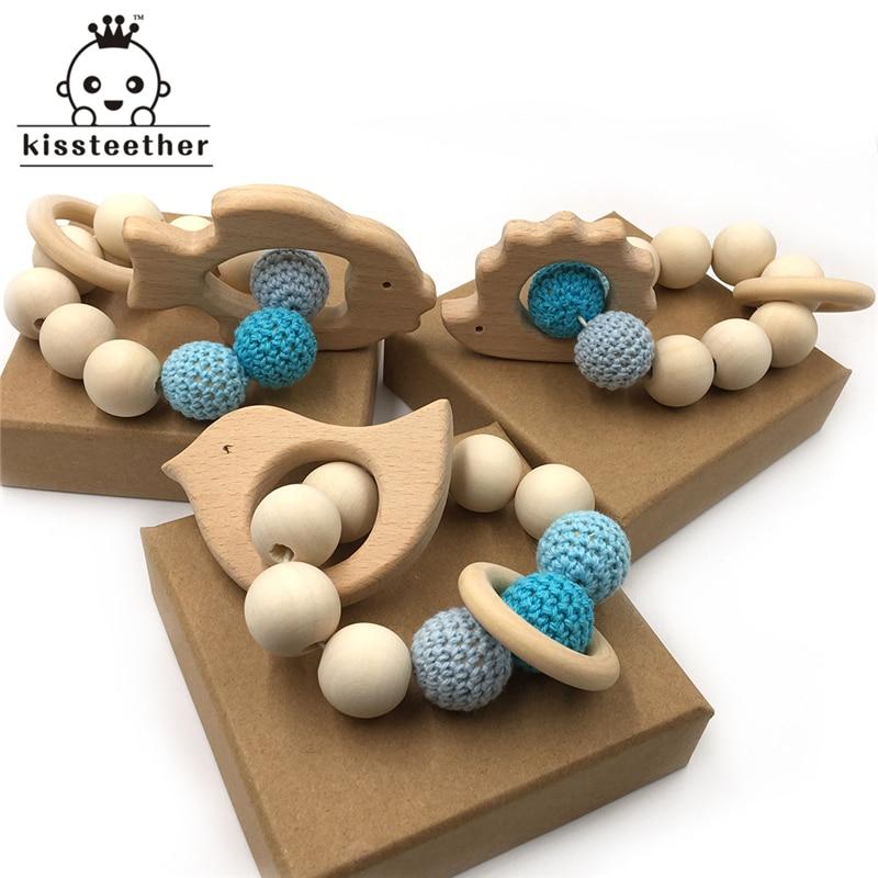 Crochet Bead Teething Ring Set Untreated Beech Teether with Organic Wood Animal Toy Wood Bracelet Baby Wooden Teether Bangle