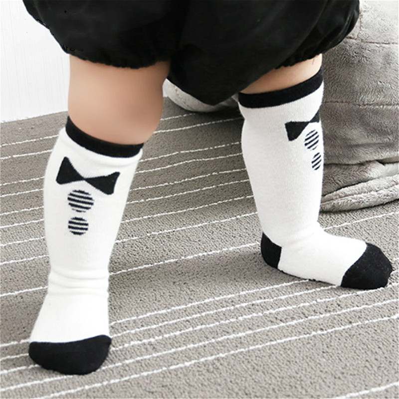Cute Baby Socks Boys Girls Accessories Newborn Kids Knee High Socks Cotton Long Tube Socks White Kids Footwear Hosiery Bowtie
