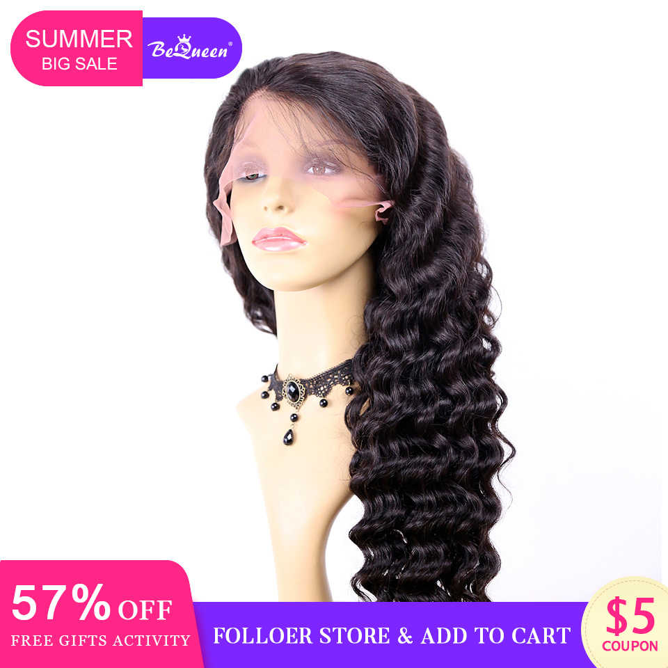 BeQueen Human Hair Wigs Brazilian Natural Wave Wig Pre-Plucked Hairline Human Hair Wig For Black Women