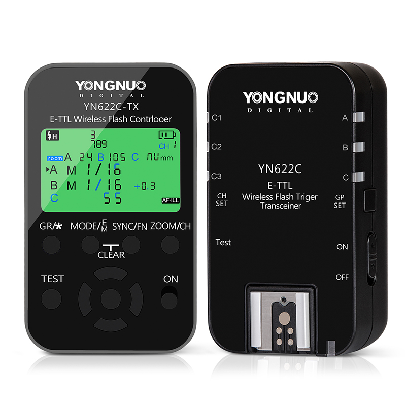 Yongnuo YN622C-TX Transmitter Controller + YN622C Transceiver Receiver Wireless E-TTL Flash Trigger Kit for Canon YN600EX-RT II 3pcs yongnuo yn600ex rt auto ttl hss flash speedlite yn e3 rt controller for canon 5d3 5d2 7d mark ii 6d 70d 60d