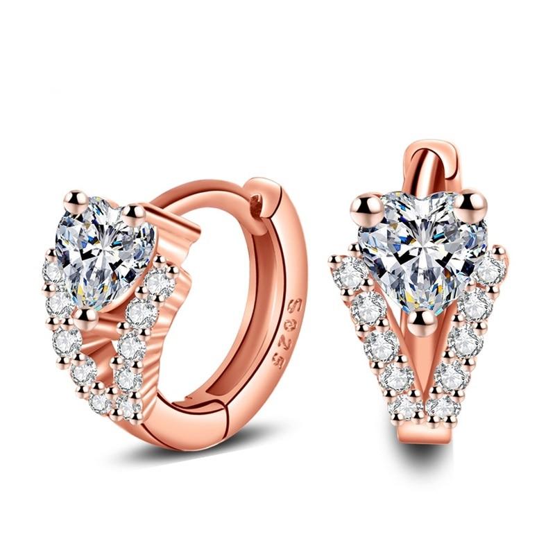 OMHXZJ Wholesale Personality Fashion OL Woman Girl Wedding Rose Gold White V Zircon 18KT Rose Gold Hoop Earrings YE428 in Earrings from Jewelry Accessories