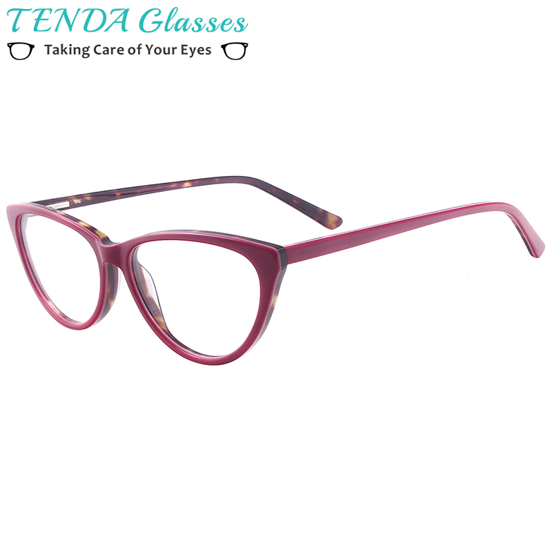 Women Cat Eye Glasses Acetate Full Rim Spectacle Frame For Prescription Degree Lenses Myopia Reading Multifocal