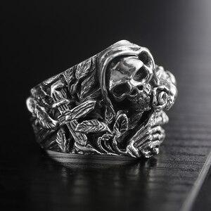 Image 3 - 925 ayar gümüş kafatası yüzükler erkekler için çapraz çiçek Howling kartal Vintage Punk Rock tay gümüş gotik otoriter yüzük