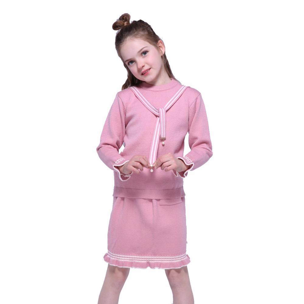 Girls Clothing Sets Kids Sweater & Short Skirts Suits Child Spring Long Sleeve Tops Bottom Sets For Girls Outfits 7 9 10 11 12 Y autumn winter girls children sets clothing long sleeve o neck pullover cartoon dog sweater short pant suit sets for cute girls